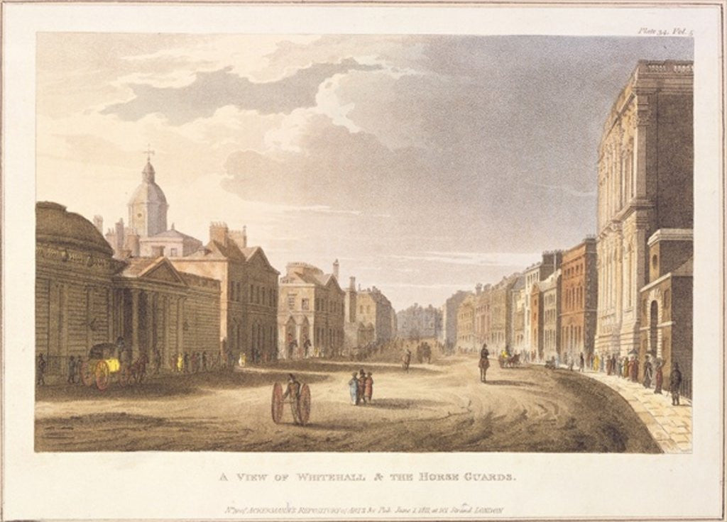 Detail of A View of Whitehall and The Horse Guards by English School