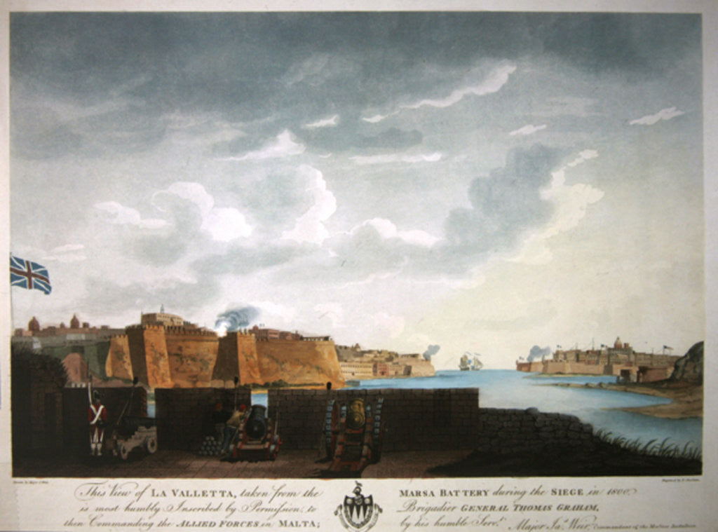 Detail of View of La Valletta during the siege of 1800 by Captain James Weir