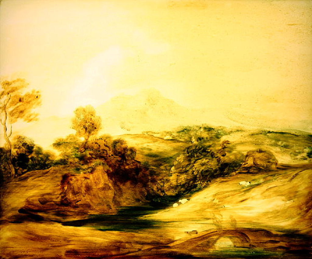 Detail of Wooded River landscape with figures on a bridge by Thomas Gainsborough