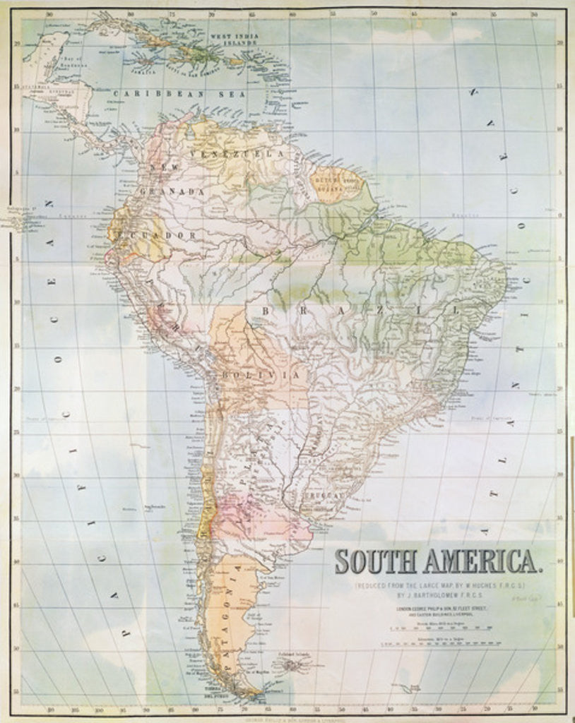Detail of Map of South America by English School