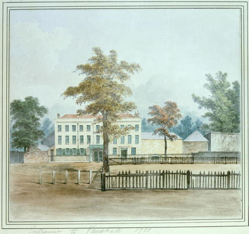 Detail of The Old House and entrance to Vauxhall Gardens by English School