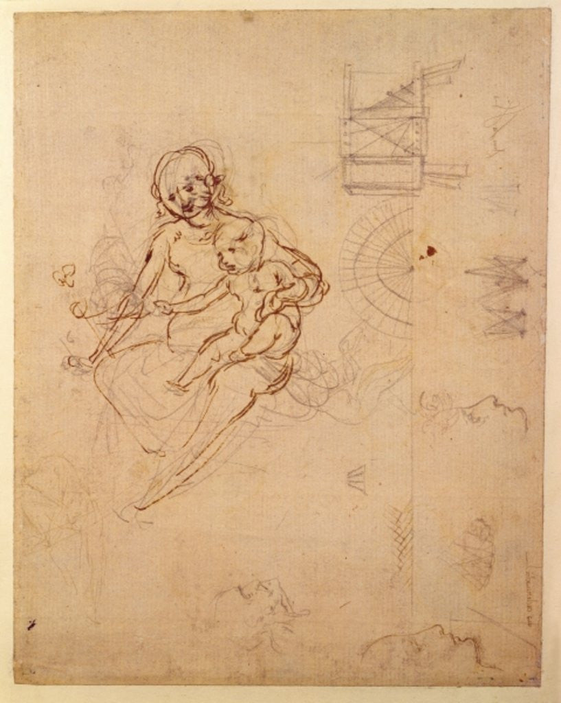 Studies for a Virgin and Child and of Heads in Profile and Machines ...