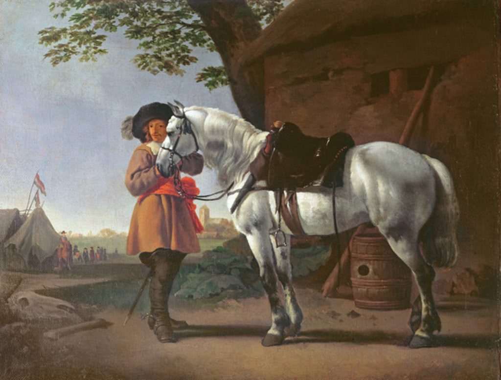 Detail of A Cavalier with a Grey Horse by Abraham van Calraet