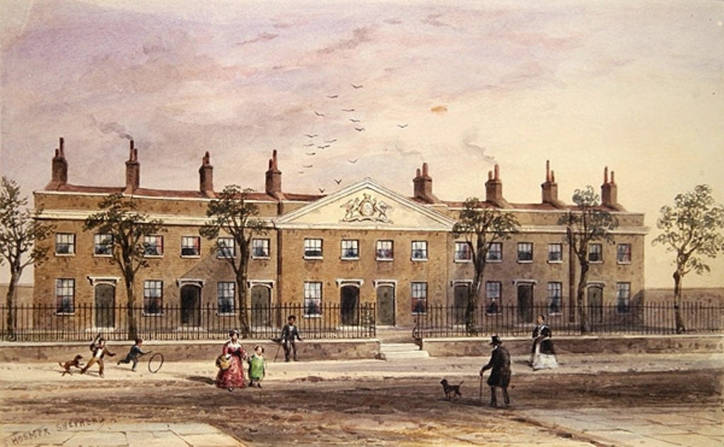 Detail of Clothworkers Almhouses in Frog Lane by Thomas Hosmer Shepherd