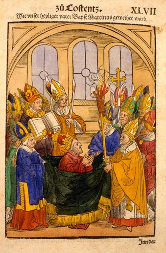 Detail of Martin V is installed as Pope at the Council of Constance by Ulrich von Richental