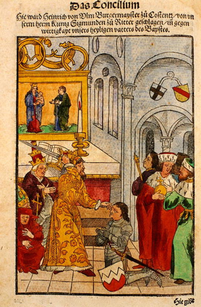 Detail of Henry of Ulm is awarded his knighthood by the Emperor at the Council of Constance by Ulrich von Richental