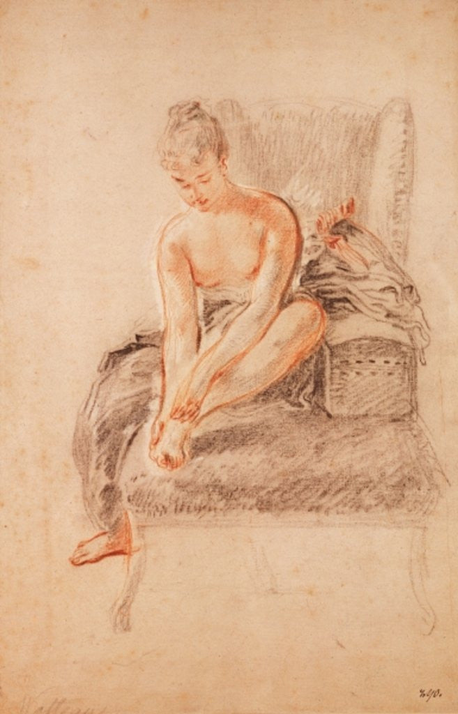 Detail of Semi-nude woman seated on a chaise longue, holding her foot by Jean Antoine Watteau