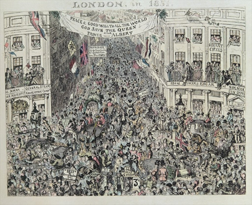 Detail of Mayhew's Great Exhibiton, London by George Cruikshank