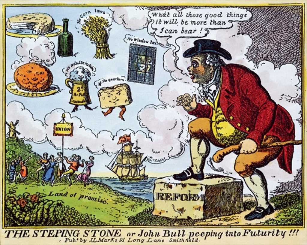 Detail of The Stepping Stone, or John Bull peeping into Futurity!!! by English School