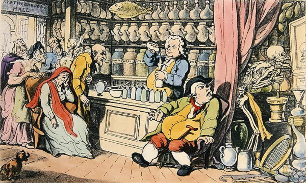 Detail of 'Death and the Apothecary' or 'The Quack Doctor' by Thomas Rowlandson