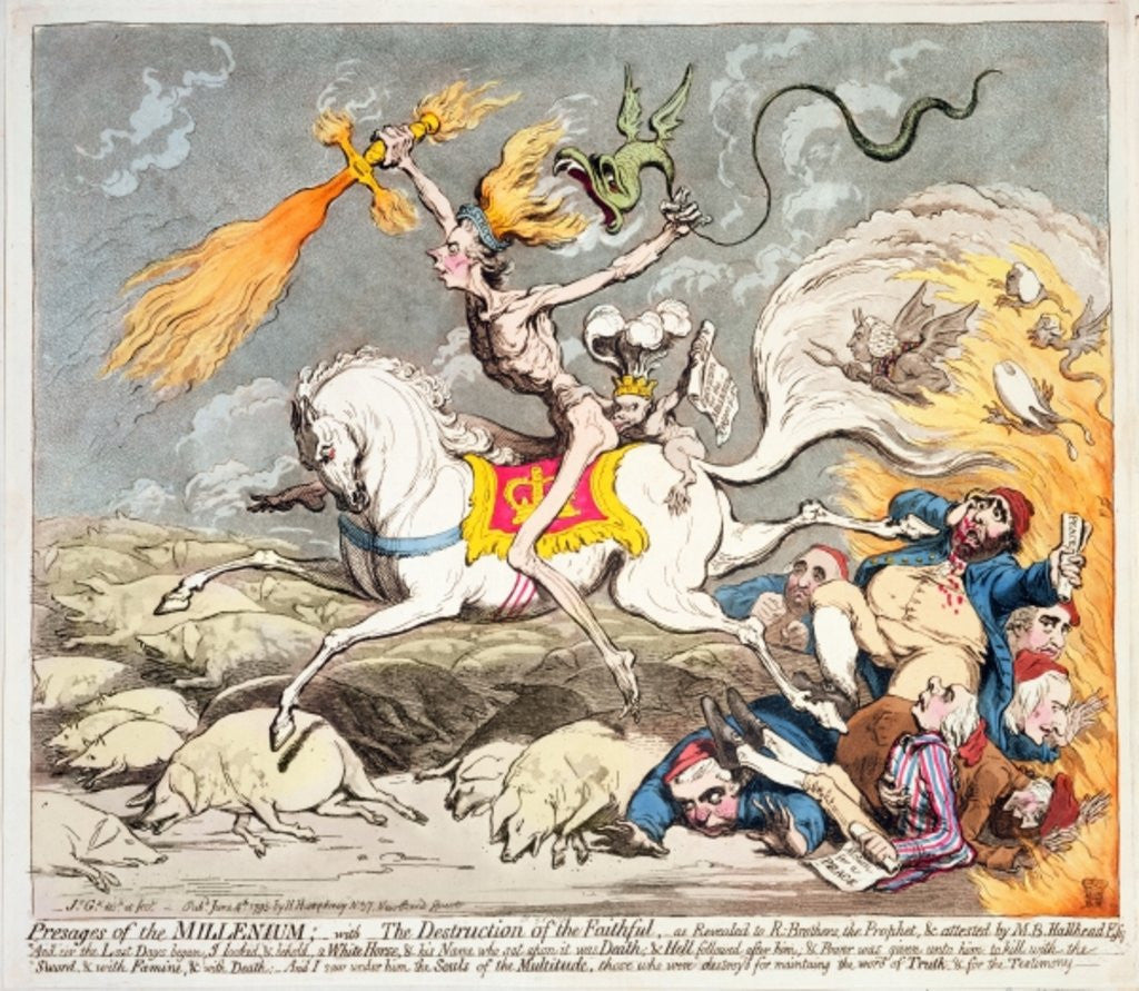 Detail of Presages of the Millennium by James Gillray
