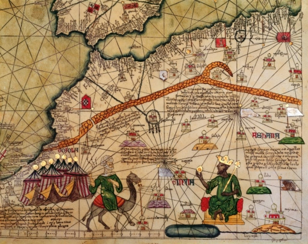 Detail of Detail of Copy of a Catalan Map of Europe and North Africa, presented to Charles V of France in 1381 by Abraham Cresques