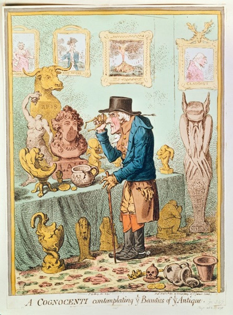 Detail of A Cognocenti Contemplating Ye Beauties of Ye Antique, published by Hannah Humphrey by James Gillray
