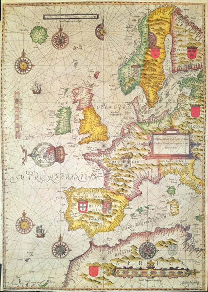 Detail of A Generall carde, and description of the sea coastes of Europe, and navigation in this book conteyned by Jodocus Hondius