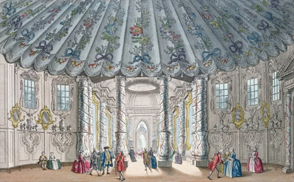 Detail of Interior View of the elegant music room in Vauxhall Gardens by Samuel Wale