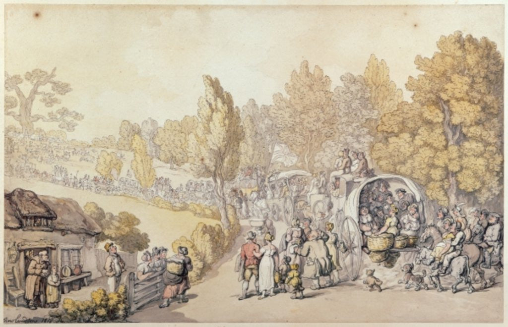 Detail of Cartoon depicting country folk leaving for the town by Thomas Rowlandson