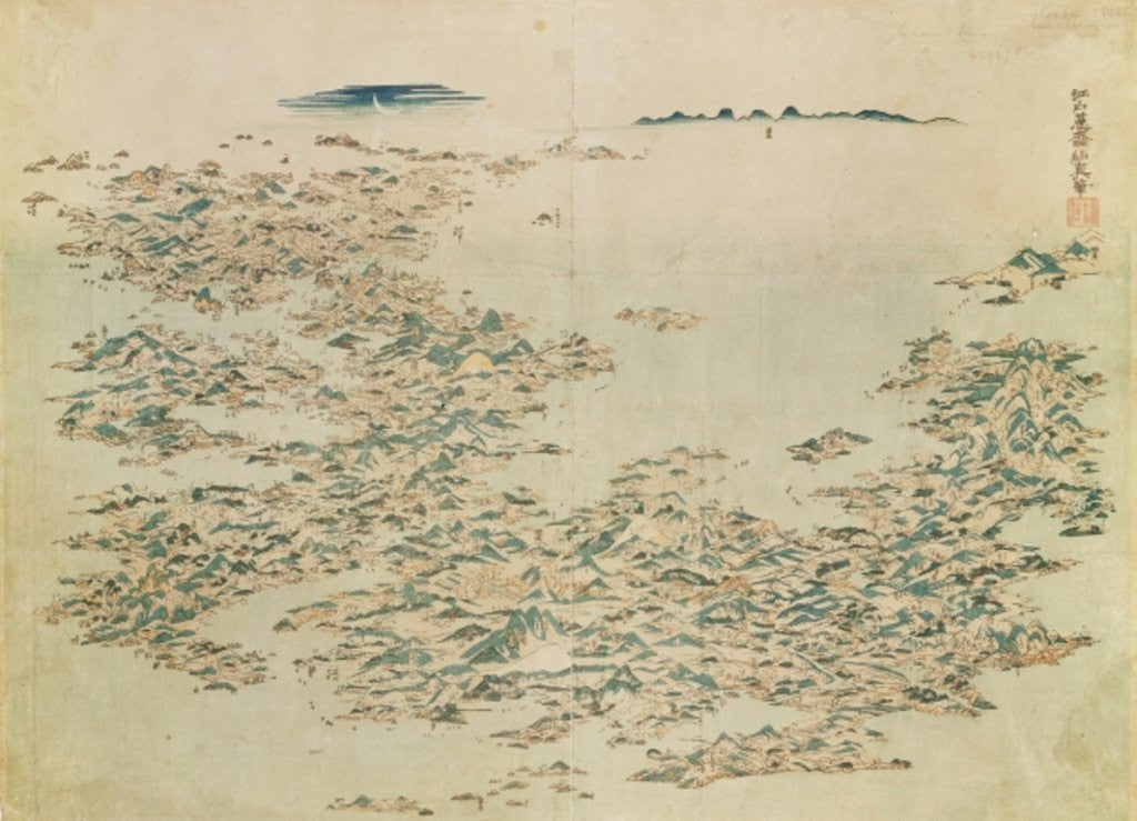 Detail of Aerial view of the Islands of Japan by Japanese School