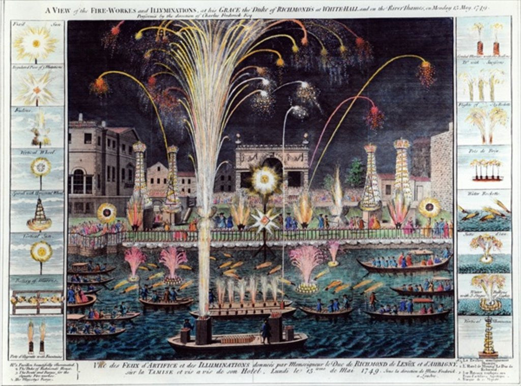 Detail of A view of the Fire-workes and Illuminations at his Grace the Duke of Richmond's at White-hall and on the River Thames by English School