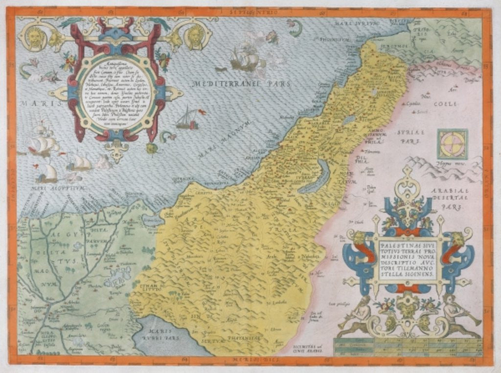 Detail of Map of Palestine by Abraham Ortelius