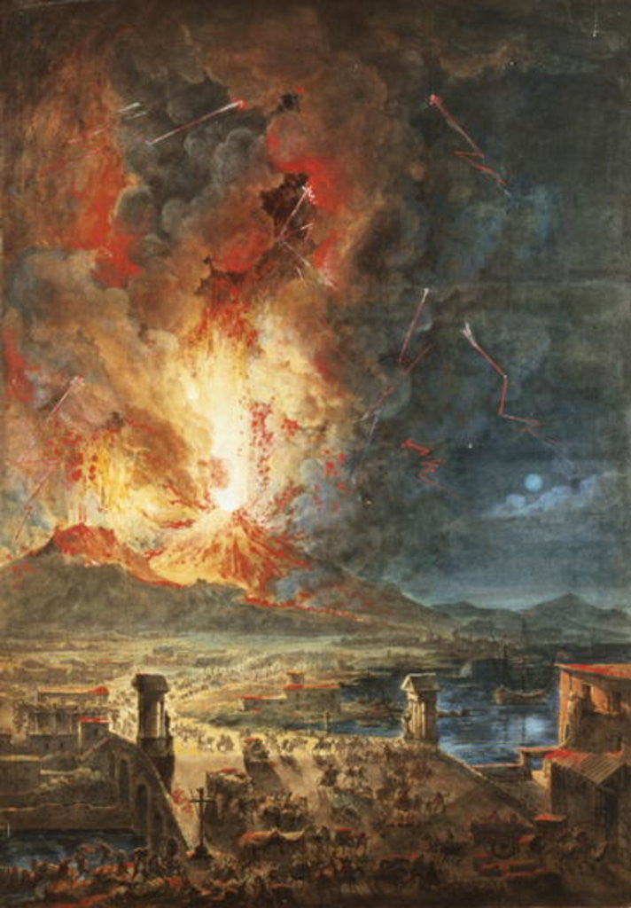 Detail of The Great Eruption of Mt. Vesuvius by Louis Jean Desprez