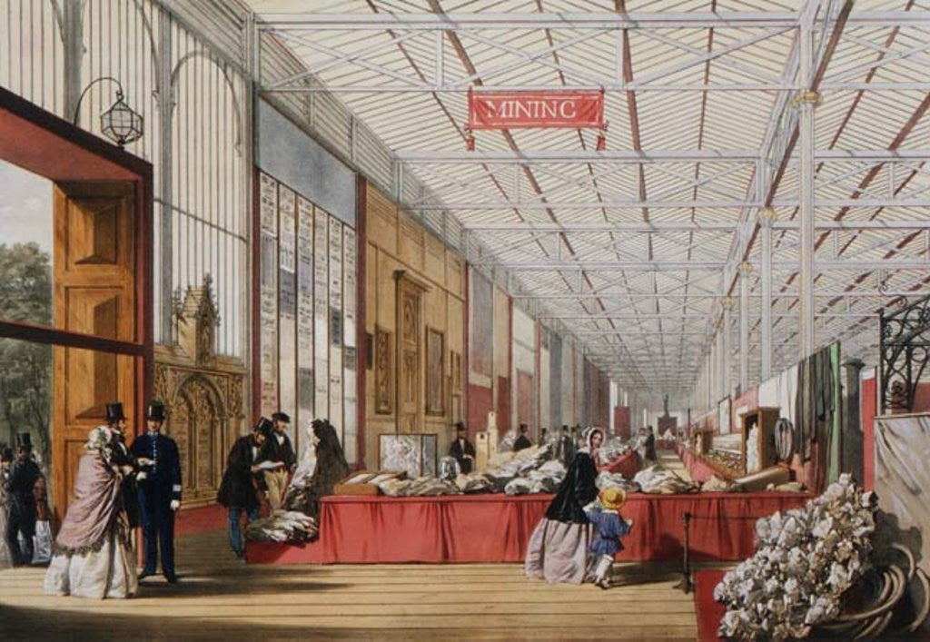 Detail of Minerals: Gallery displaying rocks and crystals at the Great Exhibition in 1851 by English School