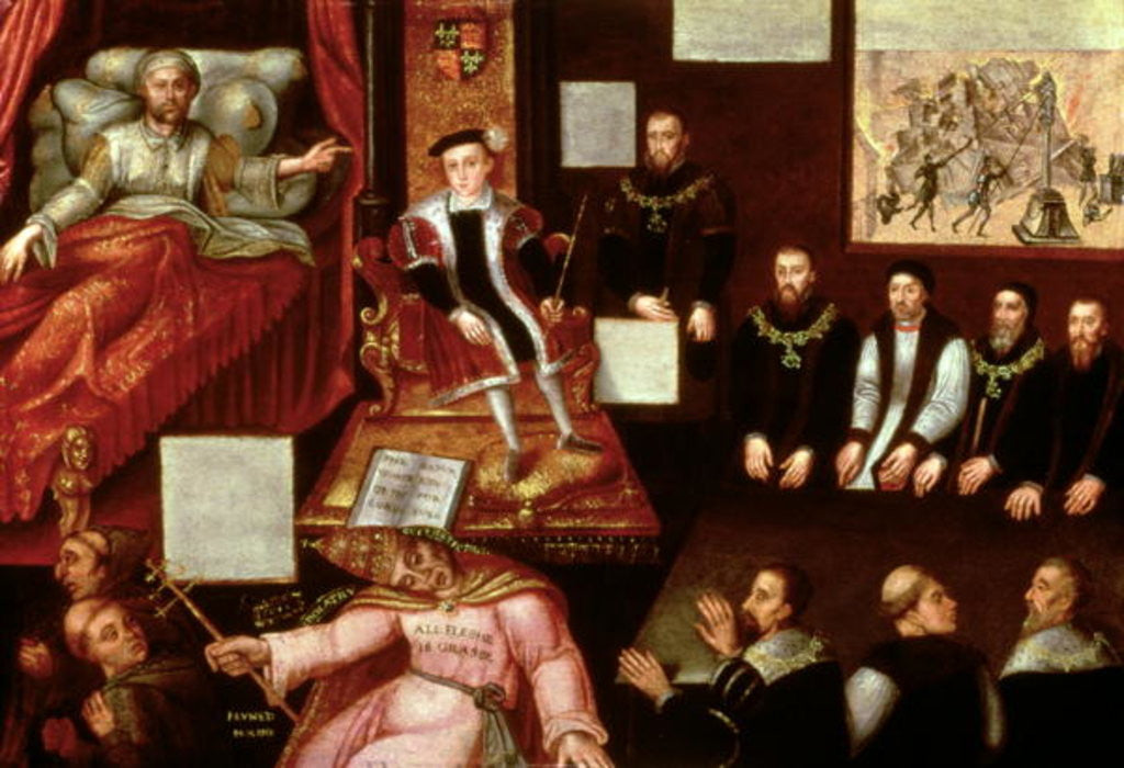 Detail of King Edward VI and the Pope by English School