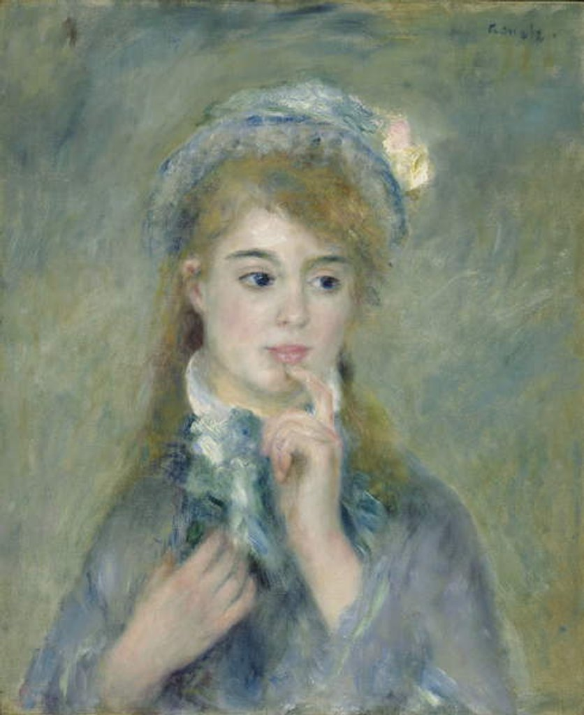 Detail of Portrait of a Young Woman, c.1874 by Pierre Auguste Renoir