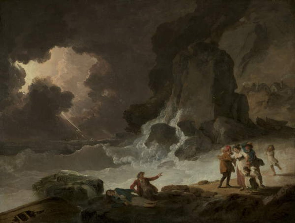 Detail of A Storm Behind the Isle of Wight, 1790s by Julius Caesar Ibbetson