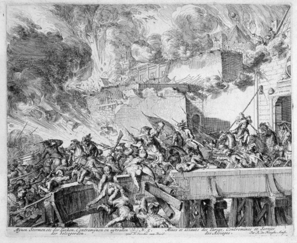 Detail of Vienna Print Cycle, Explosion of a Mine and Countermine, Raid on the Turks, 1683 by Romeyn de Hooghe