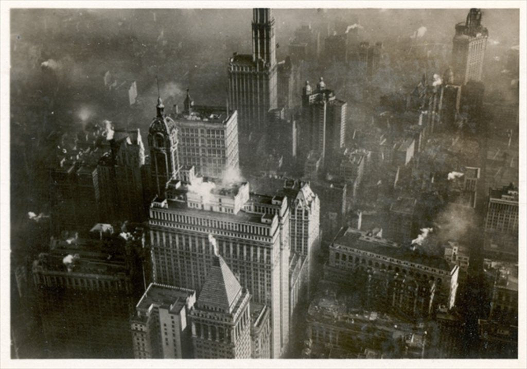 Detail of Aerial photo of downtown Manhattan, taken from the LZ 127 Graf Zeppelin, New York 1928 by German Photographer