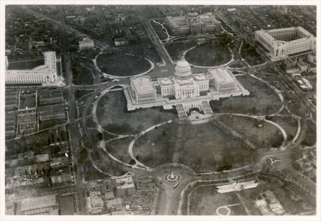 Detail of Aerial photo of the Capitol building, taken from the LZ 127 Graf Zeppelin, Washington 1928 by German Photographer