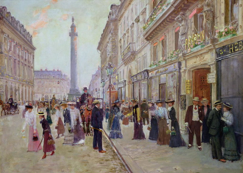 Detail of Workers leaving the Maison Paquin, in the rue de la Paix by Jean Beraud