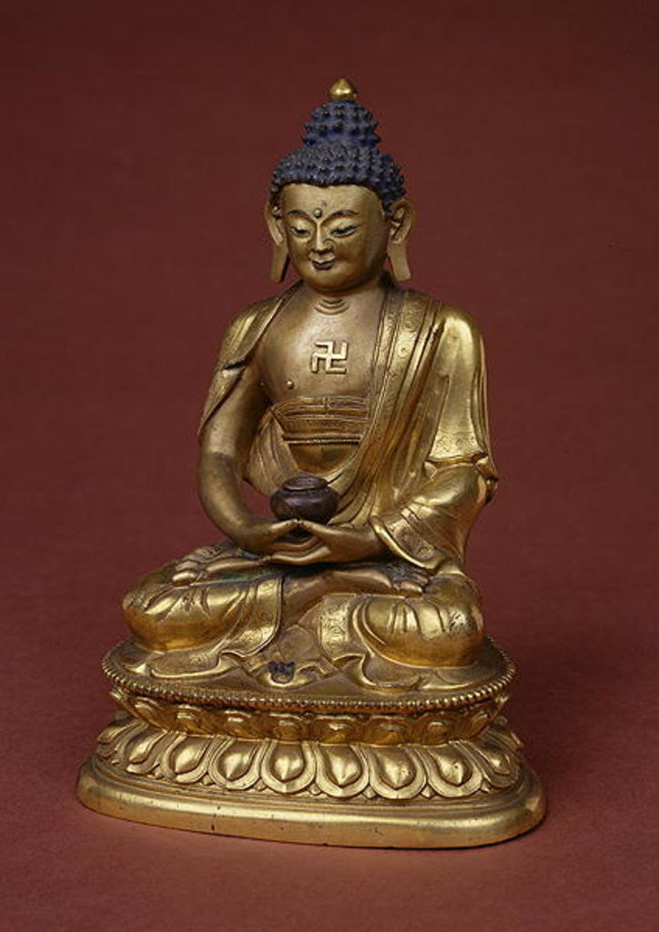 Detail of Buddha Amitayus seated in meditation holding the vase of nectar (amrta) in his lap by Tibetan School