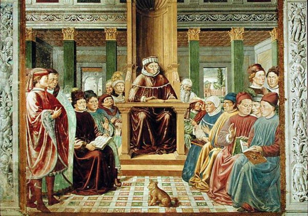 Detail of St. Augustine Reading Rhetoric and Philosophy at the School of Rome by Benozzo di Lese di Sandro Gozzoli