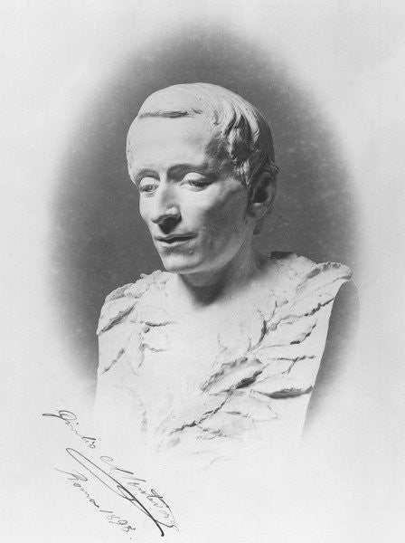 Detail of Bust of Giacomo Leopardi by Giulio Monteverde