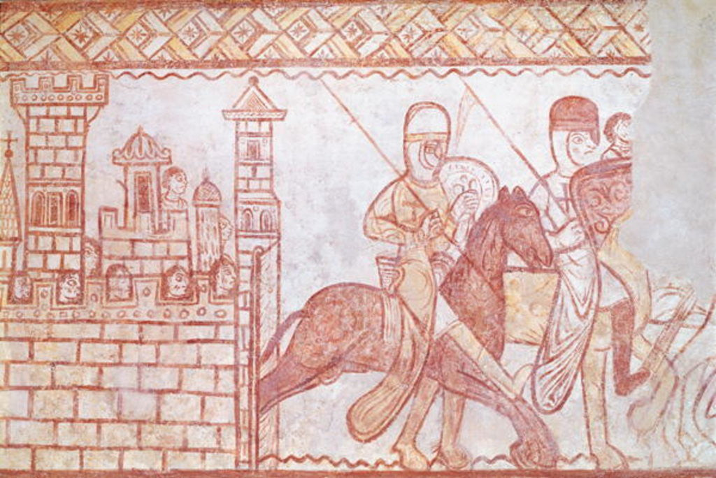 Detail of Departure of the Crusaders in 1163 from the Syrian castle of Krak des Chevaliers for the Battle of Bocquée by French School