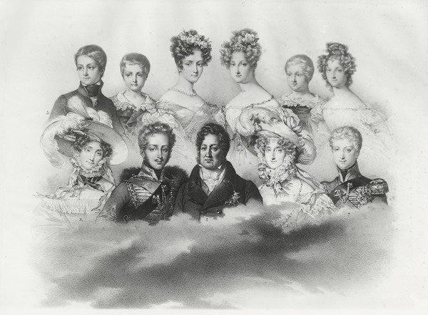 Detail of Louis-Philippe I and his family in 1830 by French School