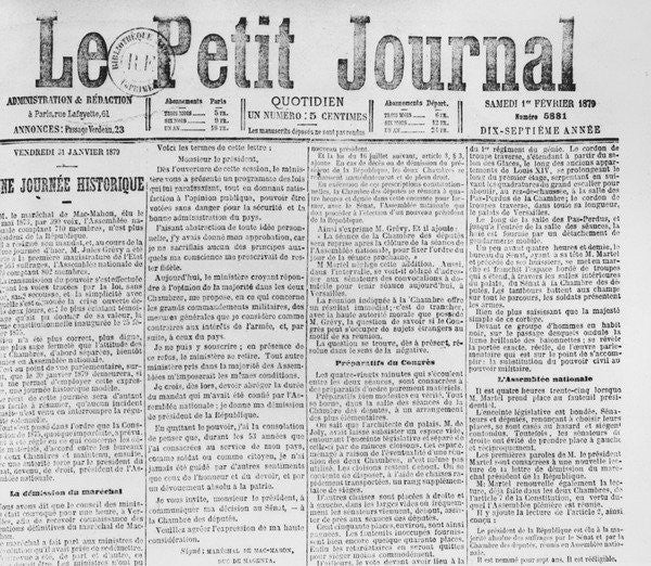 Detail of Front page of 'Le Petit Journal', telling of the resignation of Patrice de MacMahon, 1 February 1879 by French School