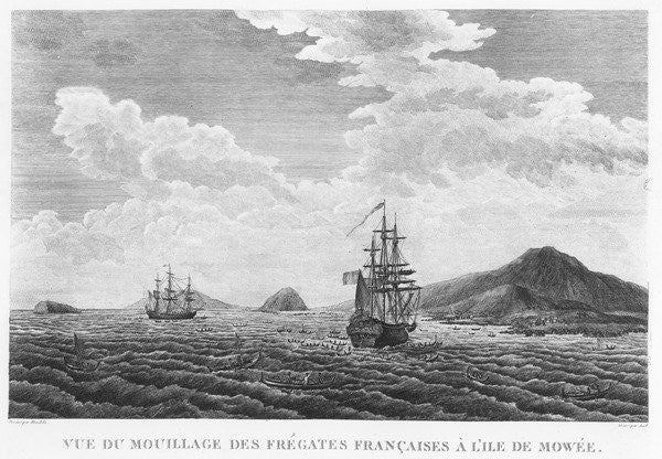 Detail of The frigates of La Perouse at the island of Maui by French School