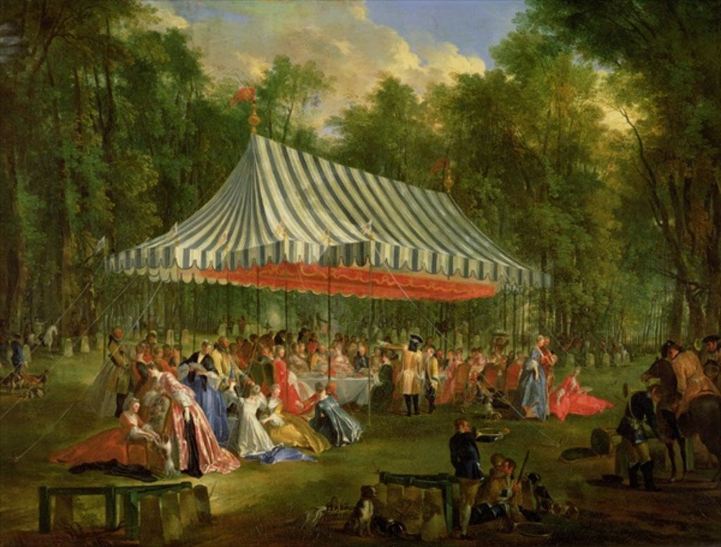 Detail of Festival Given by the Prince of Conti to the Prince of Brunswick-Lunebourg at l'Isle-Adam by Michel Barthelemy Ollivier or Olivier