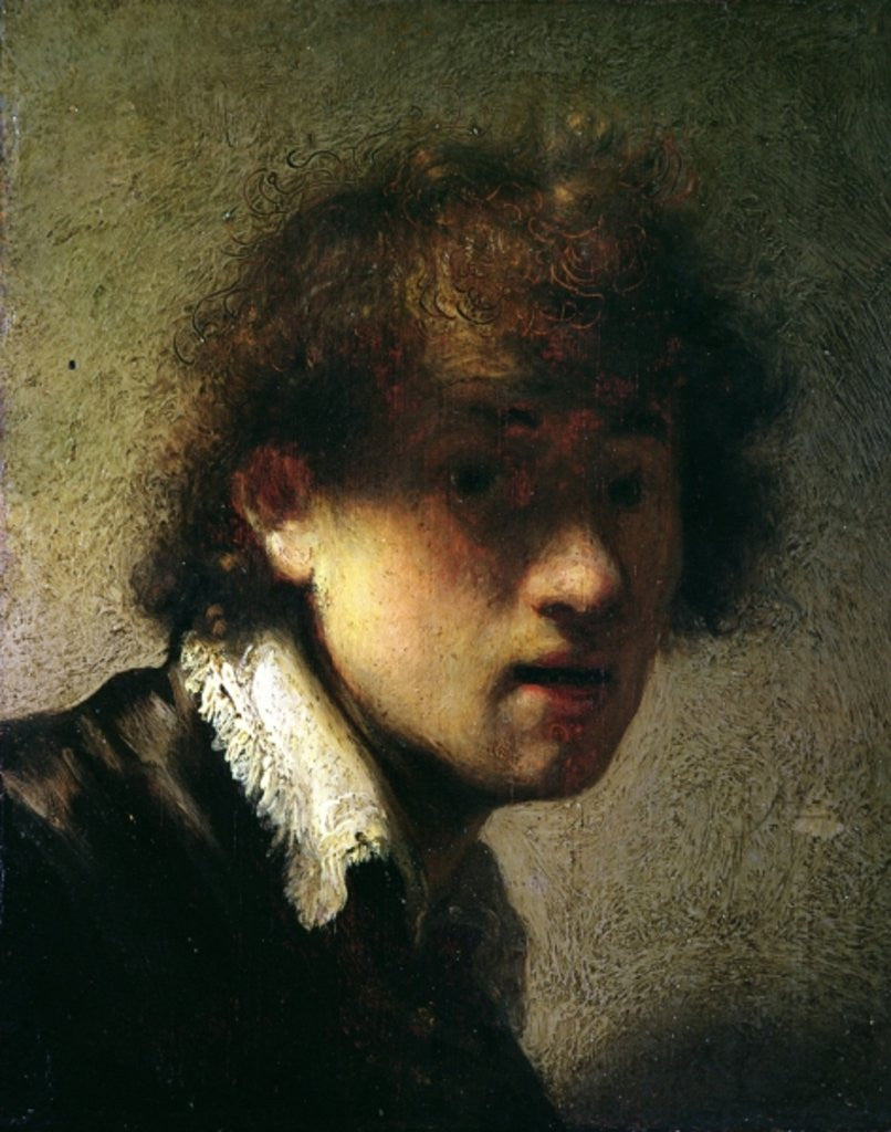 Detail of Head of a Young Man or Self Portrait by Rembrandt Harmensz. van Rijn