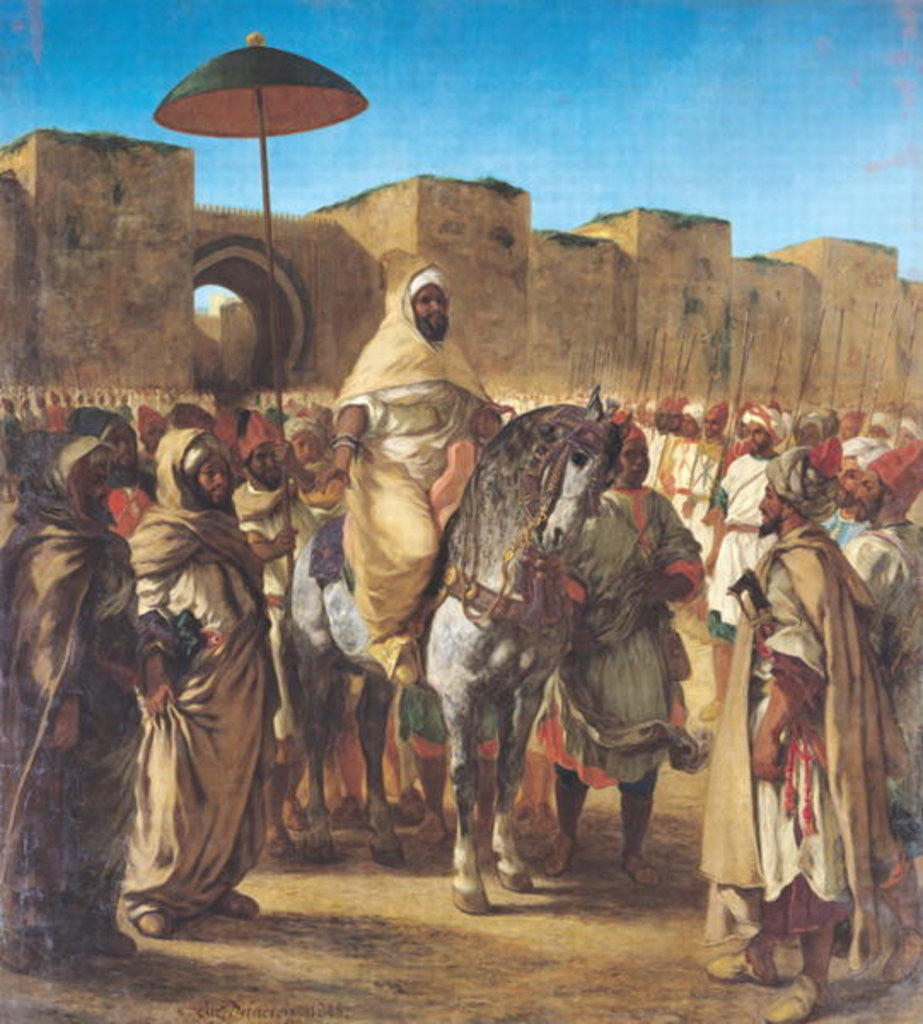 Detail of Muley Abd-ar-Rhaman, The Sultan of Morocco, leaving his Palace of Meknes with his entourage by Ferdinand Victor Eugene Delacroix