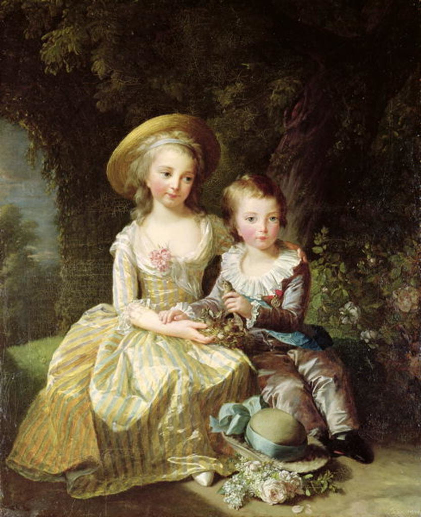 Detail of Child portraits of Marie-Therese-Charlotte of France, future Duchess of Angouleme, and Louis-Joseph-Xavier of France Premier Dauphin by Elisabeth Louise Vigee-Lebrun