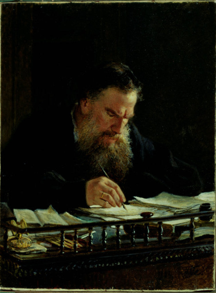 Detail of Portrait of Lev Tolstoy by Nikolai Nikolajevitch Gay