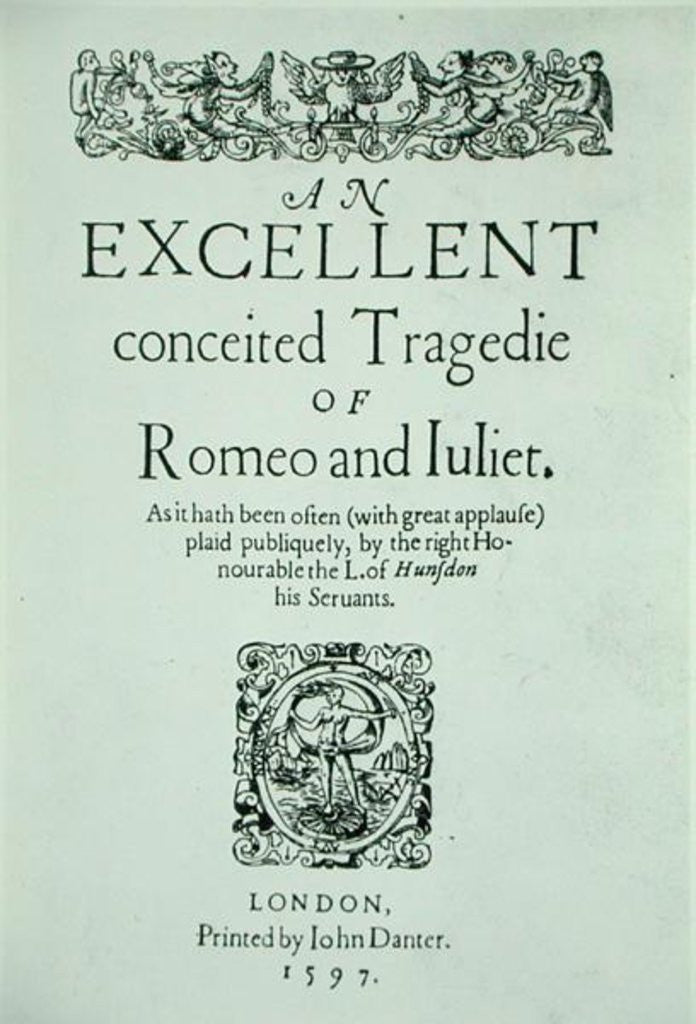 Detail of Title Page from 'Romeo and Juliet' by William Shakespeare by English School
