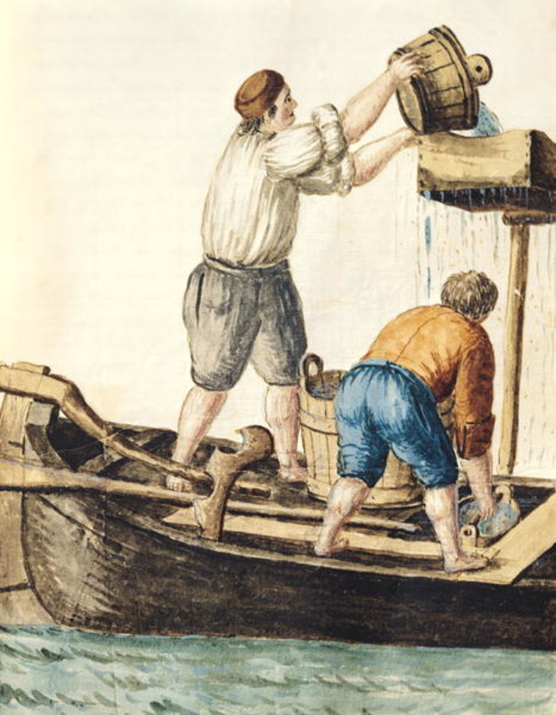 Detail of Boatmen Pouring Fresh Water into the Pipelines by Jan van Grevenbroeck
