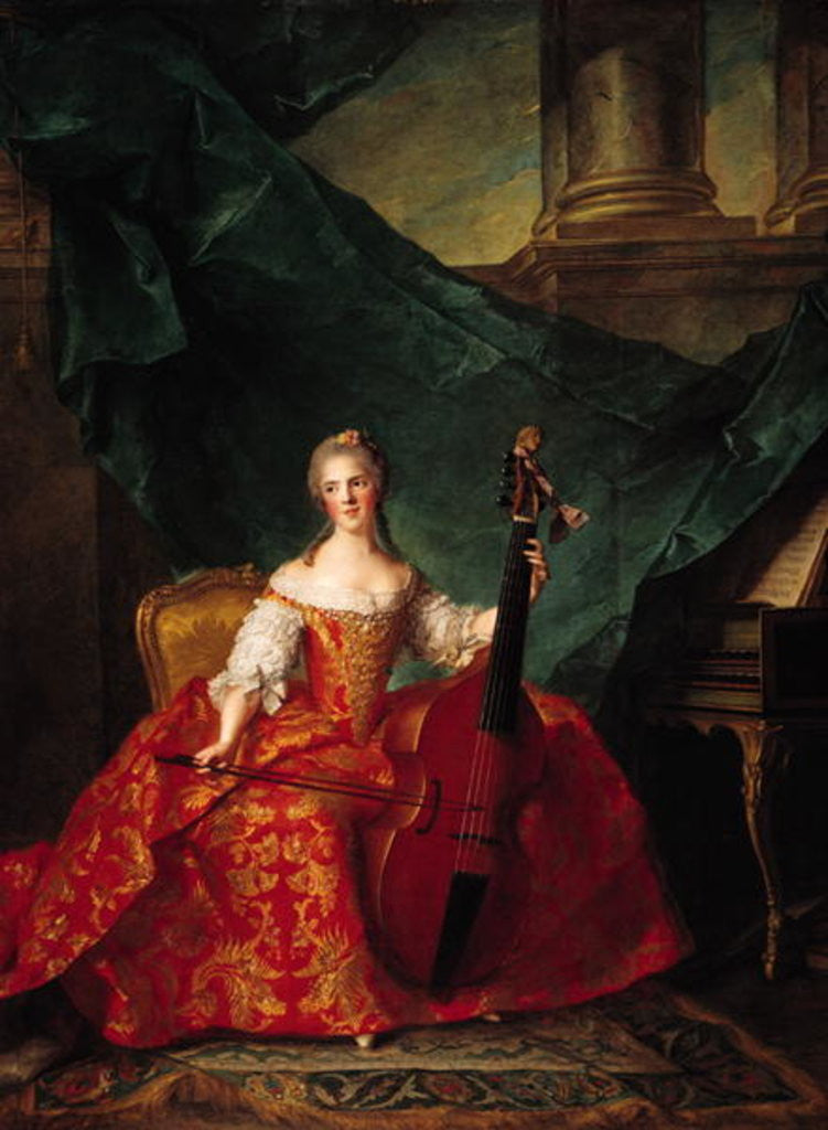 Detail of Madame Henriette de France in Court Costume Playing a Bass Viol by Jean-Marc Nattier