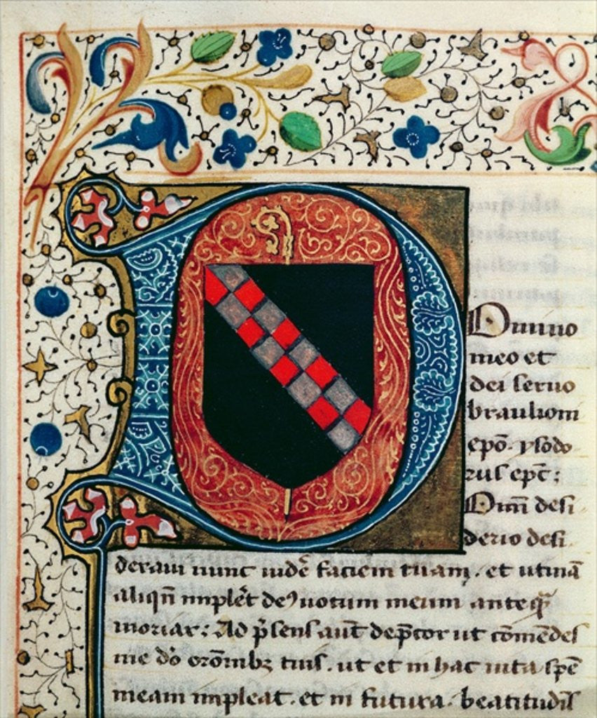Detail of Historiated initial 'D' depicting the coat of arms of the Clairvaux family by French School