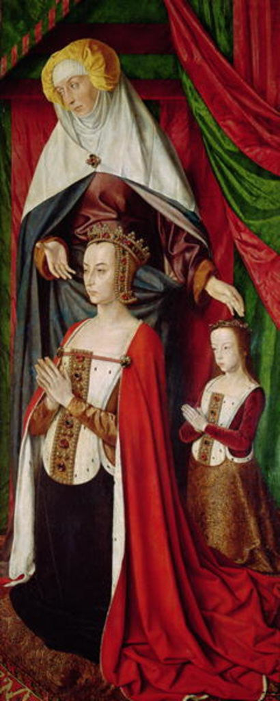 Detail of The Bourbon Altarpiece, right hand panel depicting St. Anne presenting Anne of France and her daughter, Suzanne of Bourbon c.1498 by Master of Moulins