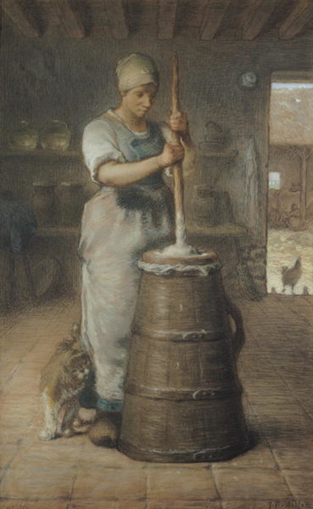 Detail of Churning Butter by Jean-Francois Millet